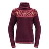 Devold ONA WOMAN ROUND SWEATER Naiset - BEETROOT